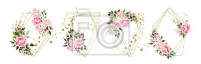 Tapeta Wedding floral geometric triangular frame