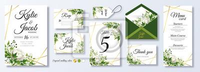 Tapeta Wedding Invitation, menu, rsvp, label, table number, envelope. Floral design green watercolor fern leaves, foliage greenery decorative frame print. Vector elegant cute rustic greeting, invite postcard