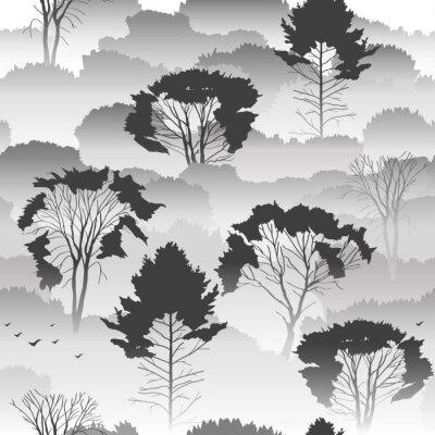 Tapeta Wektor bez szwu czarno-biały wzór. Widok z góry lesie jesienią z drzew liściastych w mgle. O środowiska, przyrody, podróży. Tajemniczy krajobraz.
