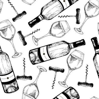 Tapeta Wektor bez szwu deseń białego wina. Ręcznie malowane przedmioty grawerowane. Butelka wina, szkło i korkociąg.