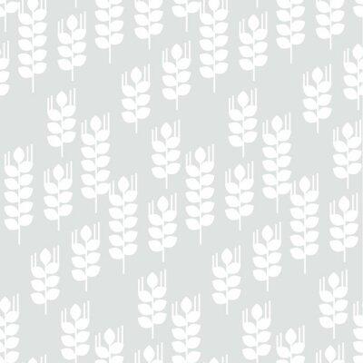 Tapeta Wektor bez szwu deseń z pszenicy uszy i ziaren. Koncepcja geometrii nowoczesny powtarzalny motyw.