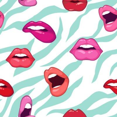 Tapeta Wektor bez szwu deseń z sexy usta. Kolorowe stylu cartoon. Moda tle