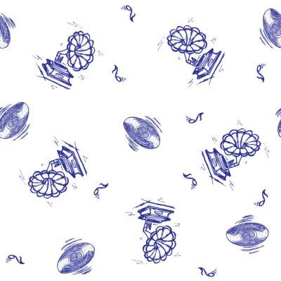 Tapeta Wektor bez szwu retro wzór, na temat muzyczny. Może być stosowany do tła strony internetowej, wypełnień deseniem, tapety, tekstur powierzchni.