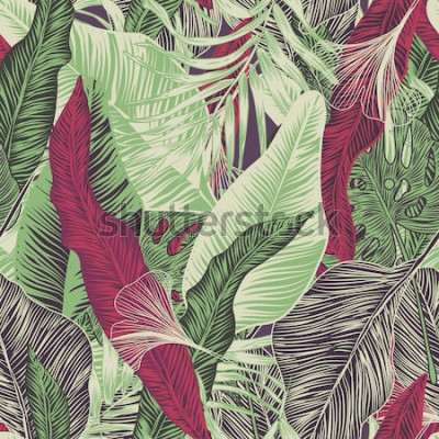 Tapeta Wektor, bez szwu, tropikalny, egzotyczny, modny, stylowy, modny, wzór egzotycznych, tropikalnych roślin i odcienie zieleni. dotyczy wydruków reklamowych, drukowania.