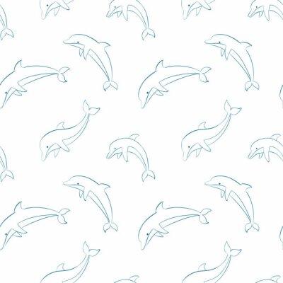Tapeta Wektor bez szwu z delfinami.