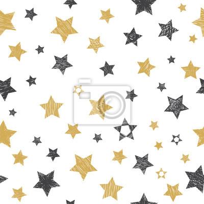 Wektor bez szwu z ręcznie rysowane gwiazdek