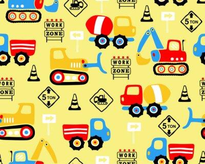 Tapeta Wektor bezszwowy wzór z przemysł pojazdu kreskówką