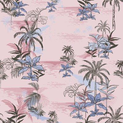 Tapeta Wektor druku hawajskiego tropikalnego Wzór druku bez szwu dla letnich wibracji z liśćmi, drzewami, roślinami, letnimi kwiatami