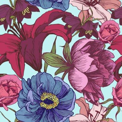 Tapeta Wektor kwiatowy wzór z piwonie, lilie, róże w stylu vintage