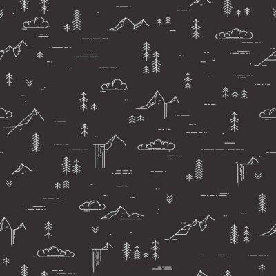 Tapeta Wektor liniowy bez szwu deseniu z dzikich elementów krajobrazu na tablicy