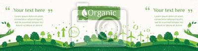Tapeta Wektor natury, ekologii, organicznych, banery środowiska. Billboard lub baner internetowy Czyste zielone środowisko w stylu grunge