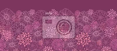 Wektor pola kwiaty elegancki fioletowy bez szwu ornament poziomy