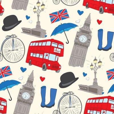 Tapeta Wektor ręcznie rysowane Londyn wzór