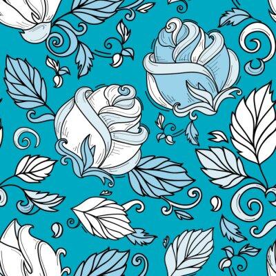 Tapeta wektor ręcznie rysowane styl szkic elegancki vintage rose niebieski cień dziki kwiat z łodygi, liści i kwitnący kwiat wzór. ilustracja na niebieskim zielonym tle.
