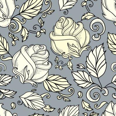 Tapeta wektor ręcznie rysowane szkic styl elegancki vintage róża żółty cień dziki kwiat z łodygi, liści i kwitnący kwiat wzór. ilustracja na szarym tle.
