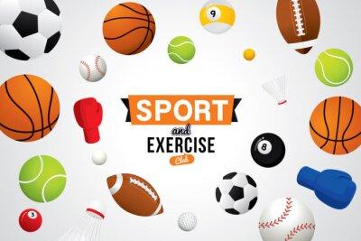 Tapeta Wektor sportu i klubu do ćwiczeń z piłką i sprzętem sportowym.