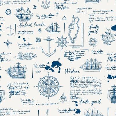 Tapeta Wektor streszczenie bezszwowe tło na temat podróży, przygody i odkrycia. Stary rękopis z karawelami, różą wiatrów, kotwicami i innymi symbolami morskimi z plamami i plamami w stylu vintage
