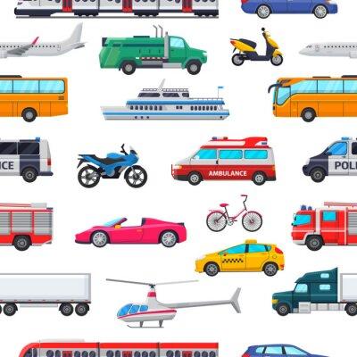 Tapeta Wektor transportu publicznego transportu samolotu lub pociągu i samochodu lub roweru do transportu w mieście Zestaw ilustracji pogotowia strażacki i samochód policyjny bezszwowe tło wzór