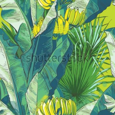 Tapeta Wektor tropikalny liść bananowca, owoce wzór tekstury. Duże liście palmowe natura zielone tło. Letni projekt w stylu vintage na baner, tekstylia, tapetę lub ulotkę. Akwarela ilustracja.