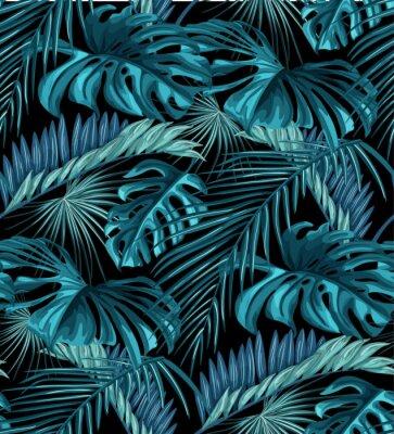 Tapeta Wektor tropikalnych liści bez szwu