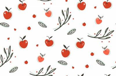 Tapeta Wektor wyciągnąć rękę streszczenie pozdrowienia cartoon jesienią grafiki dekoracji bez szwu deseń z jagody, liści, oddziałów i apple zbiorów samodzielnie na białym tle.
