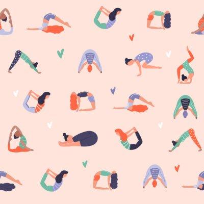 Tapeta Wektor wzór z aktywnych młodych ludzi w asan jogi. Zdrowy tryb życia. Elementy wystroju