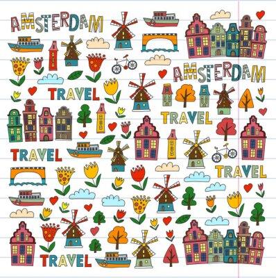 Tapeta Wektor wzór z Amsterdamu miasta Dom, architektura, młyn, tulipan. Doodle Holandia ikona