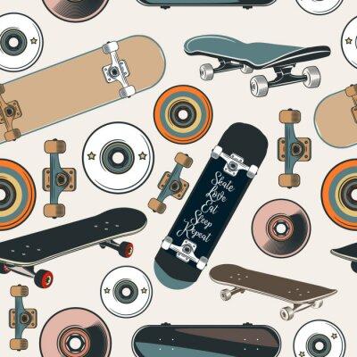 Tapeta Wektor wzór z deskorolki w stylu vintage hipster