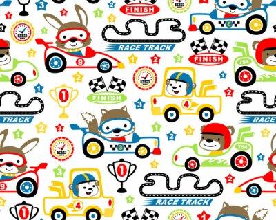 Tapeta Wektor wzór z kreskówki wyścigów samochodowych
