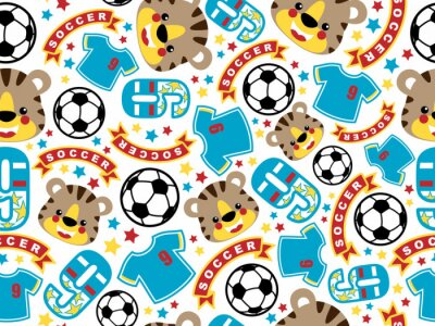Tapeta Wektor wzór z śmieszne zwierzęta piłka nożna