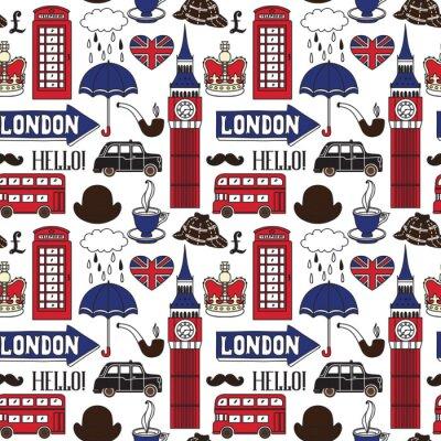 Tapeta Wektor wzór z symboli Londynu i zabytków