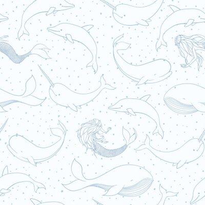 Tapeta Wektor wzór z wielorybów, syreny, narwhals i delfiny zarys na niebieskim tle przerywana. Stwory morskie, syreny i życie morskie.