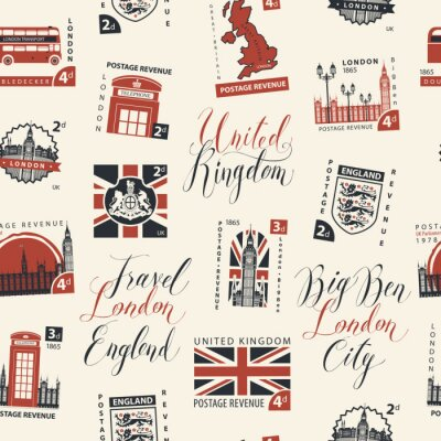 Tapeta Wektor wzór z znaczków pocztowych i odręcznych napisów na temat Wielkiej Brytanii i Londynu w stylu retro na jasnym tle. Może być używany jako tapeta lub papier do pakowania