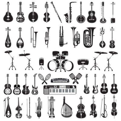 Tapeta Wektor zestaw czarno-białych instrumentów muzycznych pojedyncze, płaskie stylu