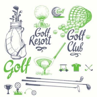 Tapeta Wektor zestaw ręcznie rysowane sprzętu sportowego. Ilustracja w stylu szkic na białym tle. Odręcznie napisany atrament.