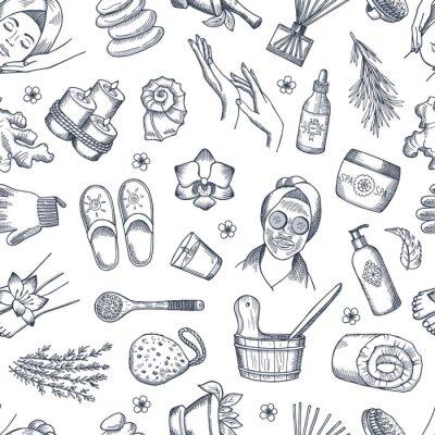 Tapeta Wektorowa ręka rysująca zdrojów elementów tło lub wzór ilustracja. Wzór spa, uroda i pielęgnacja