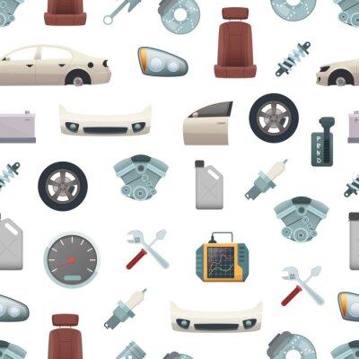 Tapeta Wektorowa samochodowa część wzór lub tło ilustracja. Elementy do serwisu samochodowego