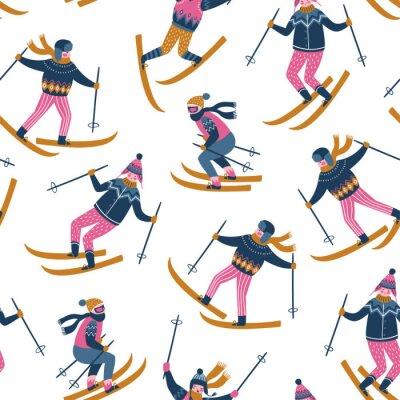 Tapeta Wektorowa zimy ilustracja narciarki. Sport dzieci w ośrodku narciarskim. Modny skandynawski design. Bezszwowy wzór na białym tle.