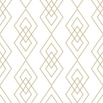 Tapeta Wektorowa złota geometryczna tekstura. Bezszwowy wzór z cienkimi liniami, diamenty