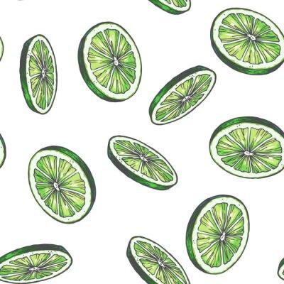 Tapeta Wektorowego rocznika bezszwowy wzór z wapnem odizolowywającym na bielu. Ręcznie rysowane kolor tekstury z zielonymi plasterkami cytrusów. Szkic rundy owocowe.
