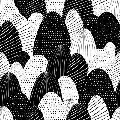 Tapeta Wektorowy bezszwowy doodle tło z abstrakt textured górami. Ilustracja kreatywnych charakter. Ręcznie rysowane czarno-biały krajobraz.