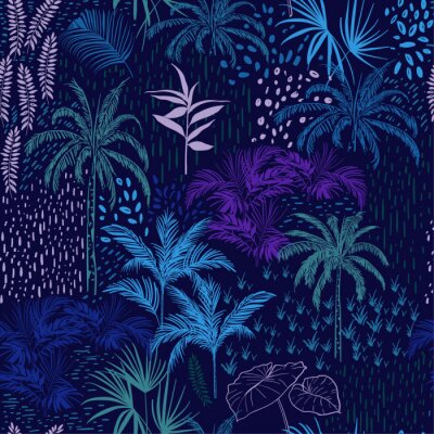 Tapeta Wektorowy bezszwowy wzór monotone błękitny las dla lato tropikalnych druków mieszających z kolorowym