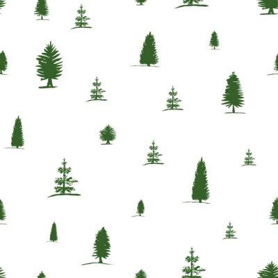 Tapeta Wektorowy bezszwowy wzór od ręki rysunku nakreślenia zielonego drzewa - sosna, jedlinowy drzewo, cyprys na białym tle