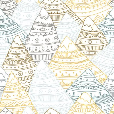 Tapeta Wektorowy bezszwowy wzór z boho ornamentacyjnymi górami.