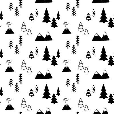Tapeta Wektorowy bezszwowy wzór z górami i drzewami