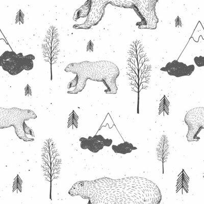 Tapeta Wektorowy bezszwowy wzór z niedźwiedziem polarnym w lesie. Ręcznie rysowane ilustracji z arktycznych zwierząt i jodły. Zima w tle. Nowy rok i świąteczne tekstury