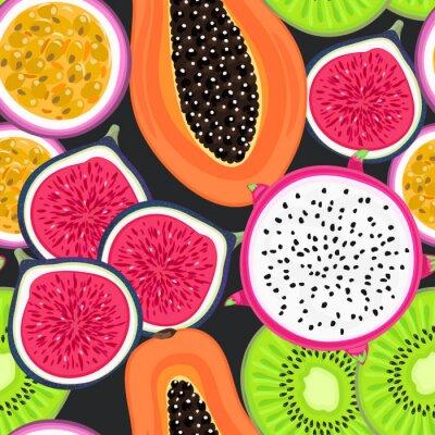 Tapeta Wektorowy bezszwowy wzór z tropikalnymi owoc. Zdrowy deser. Owocowy tło. Owoc smoka, kiwi, marakuja, figa, papaja. Opakowania, reklama na egzotycznym rynku spożywczym, tapety, baner letni