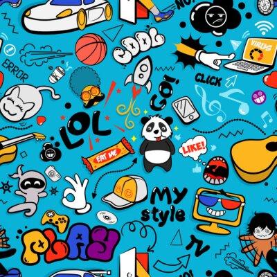 Tapeta Wektorowych graffiti bezszwowa tekstura z dziwacznymi elementami i charakterami z ogólnospołecznymi medialnymi znakami i innymi błyszczącymi ikonami. Drukuj wektor wzór tkaniny z łatami pop-art do dru