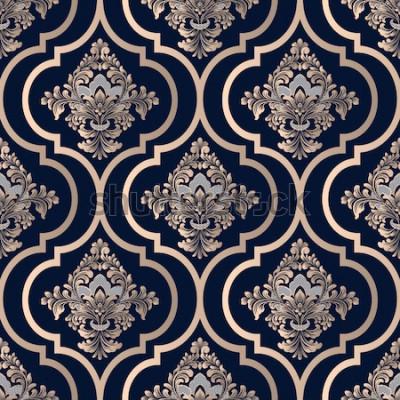 Tapeta Wektoru adamaszkowy bezszwowy deseniowy tło. Klasyczny luksusowy staromodny ornament damasceński, królewska wiktoriańska bezszwowa tekstura do tapet, tekstyliów, opakowań. Wykwintny kwiatowy barokowy