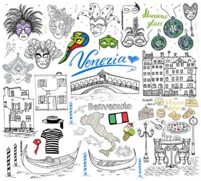 Tapeta Wenecja elementy szkicu. Ręcznie rysowane zestaw z flagą, mapa, gondole gondolier Clouth, domy, pizza, słodycze, tradycyjnych karnawałowych masek weneckich, mostu rynkowej. Rysunek doodle kolekcji sam